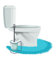 white toilet bowl on blue rug and cleaning brush vector image