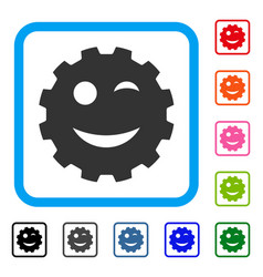 Wink smiley gear framed icon vector