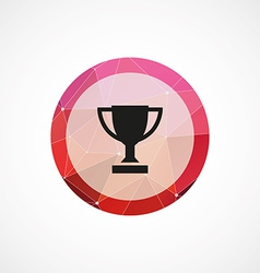 Winner cup circle pink triangle background icon vector