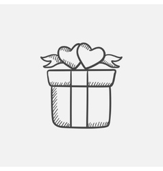 Gift box with hearts sketch icon vector
