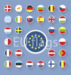Set of european union flags flat design vector