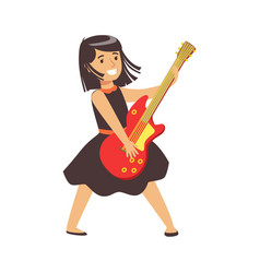 Young brunette girl in black dress playing guitar vector