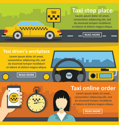 taxi service banner horizontal set flat style vector image