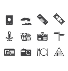 Simple travel and trip icons vector