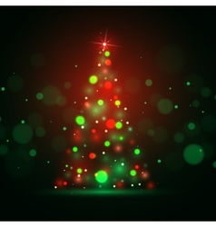 Christmas shining background with xmas tree lights vector