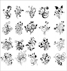 Floral elements for design vector