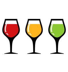 Set glass with alcohol beverage vector