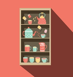 Shelf with tea cup and pot vector