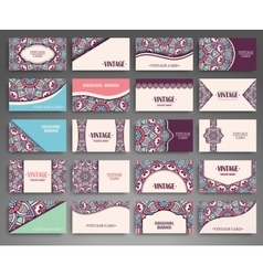 Business card vintage decorative elements vector