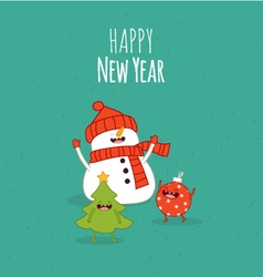 Happy newyear card snowman vector