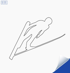 Outline jumping skier silhouette on white vector