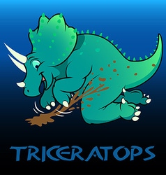 Triceratops cute character dinosaurs vector