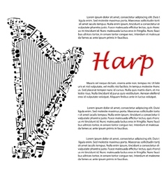 Harp with musical notes for infographics design vector