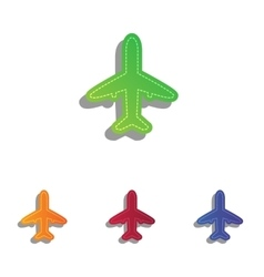 Airplane sign  colorfull applique vector