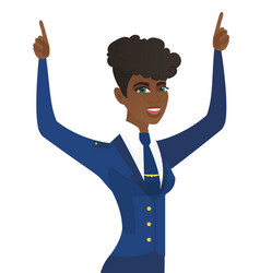 African stewardess standing with raised arms up vector
