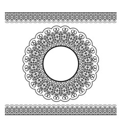 Black lacy border and circle frame vector