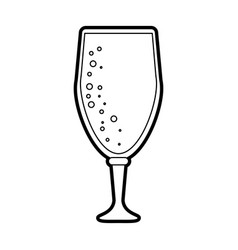 Black silhouette cartoon beer in cup glass with vector