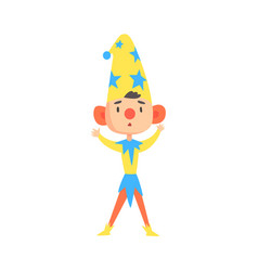 Boy in a clown medieval costume colorful cartoon vector