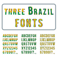 Brazil style font set hand drawn alphabet with vector