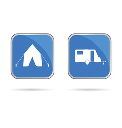 camping sing in blue vector image vector image