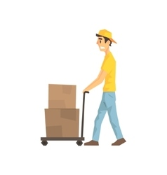 Cautious worker with cart an boxes delivery vector