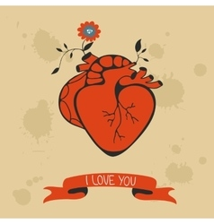 Concept love card with heart blooming vector image