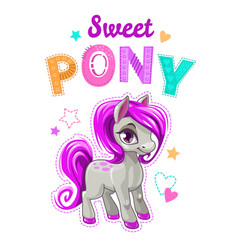 Cute cartoon little horse with purple hair vector
