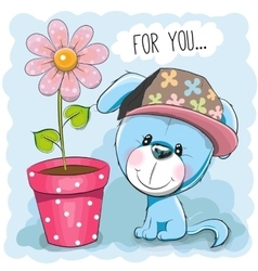Dog with flower vector