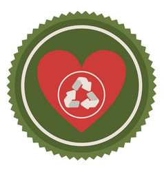 Emblem red heart with ecolgy symbol vector