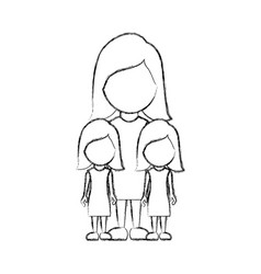 Figure woman her girls twins icon vector