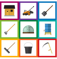 Flat dacha set of hothouse pail shovel and other vector