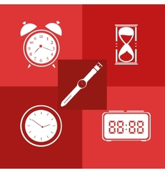 Flat icon set Time Clock vector image vector image
