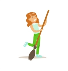 Girl with broom helping in eco-friendly gardening vector