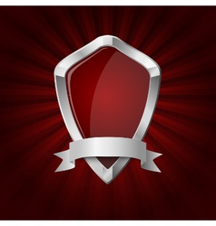 Glossy shield on red rays background vector image vector image