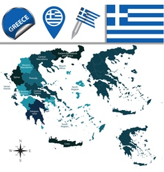 Greece map with named divisions vector image vector image