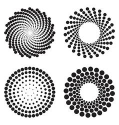 Halftone circles of dots vector image