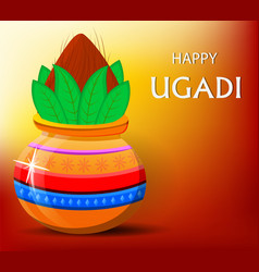 Happy ugadi greeting card with beautiful vector