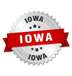 Iowa round silver badge with red ribbon vector