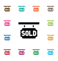 isolated purchase realtor icon sold sign vector image