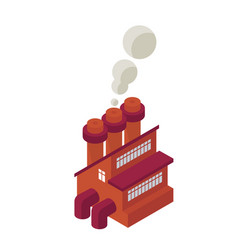 Isometric industrial factory building icon - web vector