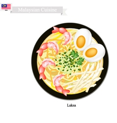 Laksa or malaysian rice noodle in spicy soup vector
