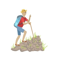 Man climbing a rocky slope with backpack vector