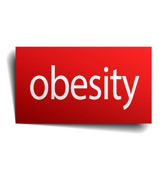Obesity red square isolated paper sign on white vector
