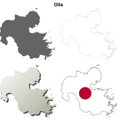 Oita blank outline map set vector