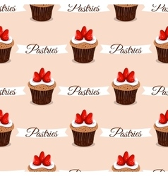 Pastries Strawberry Cupcakes vector image vector image
