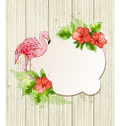 Pink flamingo with red tropical flowers vector