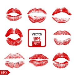 Print of pink lips set on a vector