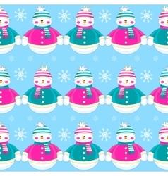 Seamless christmas cute funny snowmen vector