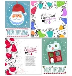 Set of Christmas postcard templates vector image vector image