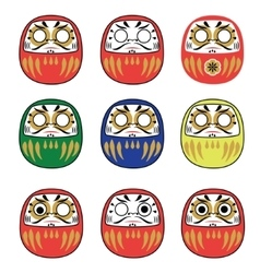 Set of Japanese Daruma Dolls vector image